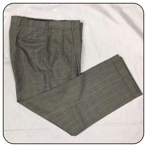Jos.A.Bank 33R Wool Tan/Brown Plaid Dress Pants